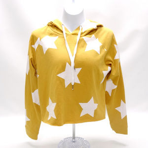 Messy Bun Just Chillin' Yellow Star Crop Hoodie